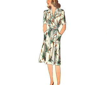 1940s Wrap DressPattern, 1940s Misses Housecoat Pattern, Bust 34,  Size 16, FF, Simplicity 2155, Womens Vintage Sewing Pattern
