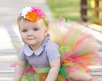 Girl tutu and flower headband set, pink and green tutu, baby tutu, tutu photo prop, tutu dress, tutu skirt, tutu set, birthday tutu, tutu