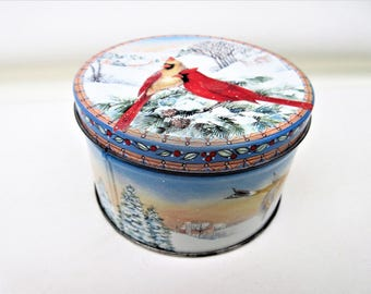 Vintage Tin Box   Cookie Tin   Snow Birds   Small Metal Box with Lid