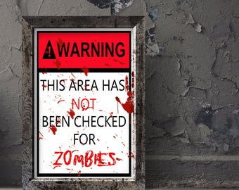 Zombie sign -  Zombie poster - Halloween decoration - Halloween print - Halloween sign - Printable - Party decor