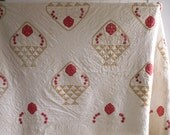 Antique Red, Yellow and White Handmade Quilt with Floral Applique - Wedding Decor