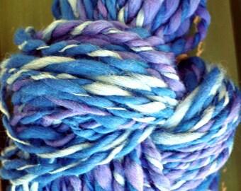 Yarn Handspun Hand Spun Hand Dyed Super Bulky Mixed Blues, Purple, Light Blue, Dark Blue Knitting Supplies Crochet