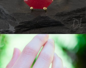 Red Ruby Ring Gold - July Birthstone Ring - Stack Ring - Stackable Birthstone Ring - Gold Ring - Marquise Prong Set Ring