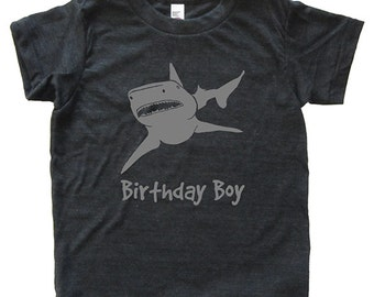 Shark Birthday Boy Tshirt - Kids Shark Birthday Shirt - Tee - Youth Boy Shirt / Super Soft Kids Tee Sizes 2T 4T 6 8 10 12 - Triblend Gray