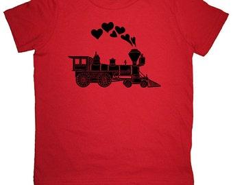 Heart Kids TShirt - Valentines Day Boy Train Shirt - Hearts Love Train Engine Tee Shirt Top - 7 Colors - Kids Tshirt 2T, 4T, 6, 8, 10, 12