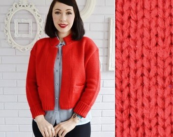 Vintage 1960s Red Open-Front Wool Cardigan by Bobbie Brooks Size Small or Medium