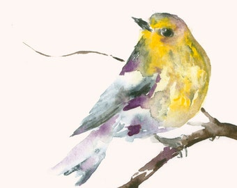 Original Watercolor Painting Yellow and Purple Bird
