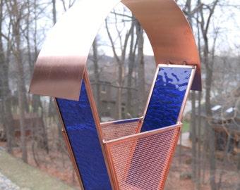 Bird Approved! Bird feeder stained glass and copper medium blue no rust modern garden art