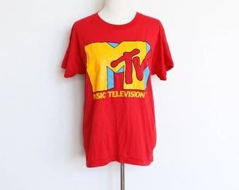 Vintage MTV Shirt // Spring Break 1986 Red T Shirt // Screen Stars Tee 50 50 Medium Large Music Television Coke 1980s