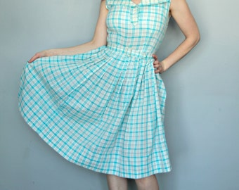 1950s Plaid Day Dress with Belt