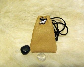 Beige Leather Bag , Leather Bag Pouch , Medicine Bag , Crystal Pouch , Hand Sewn Bag , Snowflake Obsidian , Shaman's Bag , Bird Charm