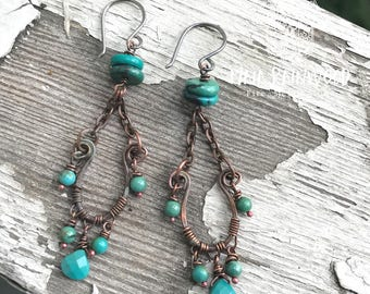 Verdigris copper and Hubei turquoise drop earrings