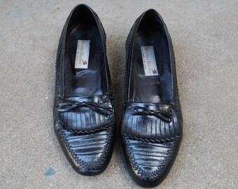 Vintage Mens 8m Stanley Blacker Italian Slip On Loafers Loafer Oxfords Frill Fringe Woven Black Leather Designer Hipster Preppy Classic Suit
