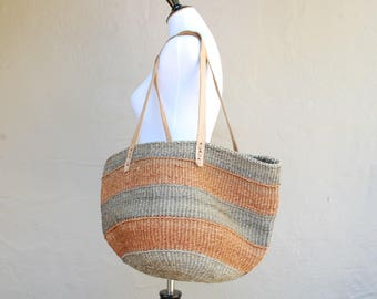 Vintage Hippie Boho Tweed Pouch Tote Sack Purse Shoulder Bag With Leather Strap Hobo Bag Essential Summer Beach Bag Natural Native Grocery