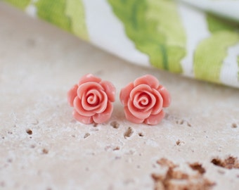 Sterling Silver Pink Rose Earrings, Flower Stud Earrings, Pink Earrings, Vintage Rose Studs, Sterling Silver Studs, Earring Stocking Filler