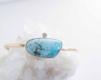 Black Widow Turquoise + Moissanite Bracelet | Sterling Silver + 14k Gold Fill | One of a Kind