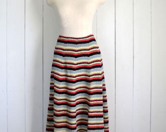 High Waist Skirt - 1960s Mid Century Skirt - Striped A Line Vintage Midi Skirt - Extra Small XS / Small S