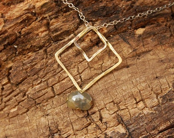 Rhombus pendant Necklace, Statement Necklace, Sapphire stone Necklace,  Large Gold Silver Necklace, Boho Green Sapphire Pendant Necklace