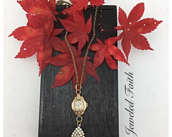 The Time Keeper Vintage Watch Necklace Rhinestone Vintage Necklace repurposed necklace