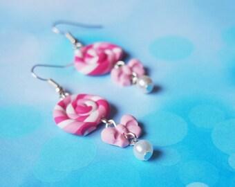 Pink Lollipop Earrings (miniature lollipop pink earrings miniature food polymer clay jewelry cute earrings lollipop jewelry)