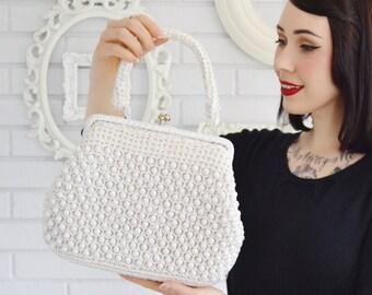 Vintage 1960s White Raffia and Plastic Beaded Handbag Made in Japan