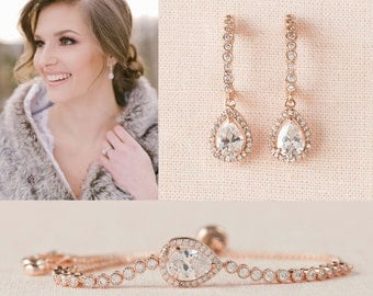 Rose Gold Earrings, Petite Bridal Earrings, Swarovski, Bridal Jewelry SET, Wedding Jewelry, Bridesmaid Jewelry, Bailey Earrings