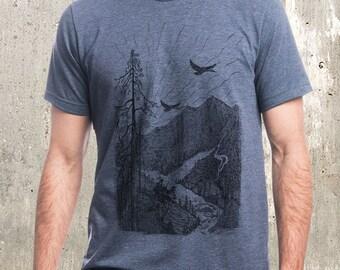 Men's T-Shirt - Mountain Cabin Illustration - Men's Screen Printed T-Shirt