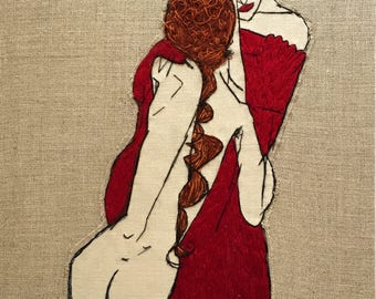 Egon Schiele Embroidery Art / framed with Walnut Wooden Frame. Hand embroidered / Made to order
