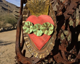 Flaming Heart / Flowers - Ex Voto - Old Mexico Soul - Original Painting By Cathy DeLeRee