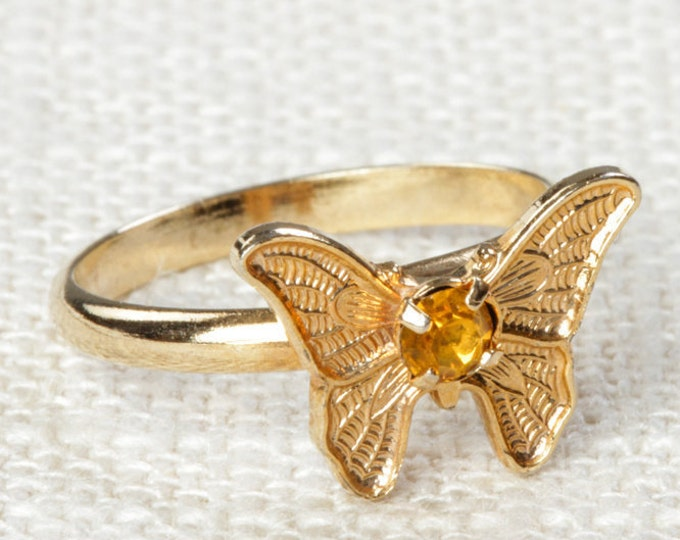 Vintage Butterfly Ring Yellow Rhinestone Small Adjustable XS or Child's Size Vintage Ring Gold Butterfly Adjustable 16R