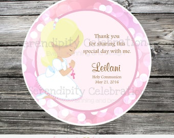 First Holy Communion, Baptism, Confirmation, Religious, Set of 12 Personalized Favor Tags, Stickers, Thank You Tag, Pink Bokeh