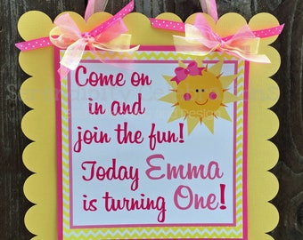 Pink Yellow Sunshine Party Sign, Sun Door Sign, You are my Sunshine Birthday, Baby Shower, Welcome Sign, Door Sign, Photo Prop, Sun Party