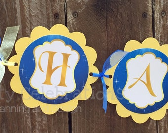Princess Birthday Banner, Personalized Banner, Belle Party Banner, Baby Shower, Beauty and the Beast Happy Birthday Banner, Photo Prop