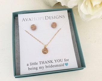 Rose Gold Necklace Rose Gold Earrings, Rose Gold Set Bridesmaid Earrings Set, Rose gold earrings Mothers Day gift, Best friend best selling