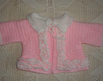 0-3 Month Crochet Pink Sweater with White Ruffles and Collar