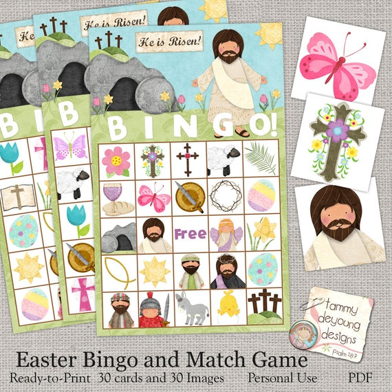 Easter Bible Bingo, Religious Easter Printable, Sunday School Game, Kids Easter Party favor, Jesus Holy Week preschool classroom activity