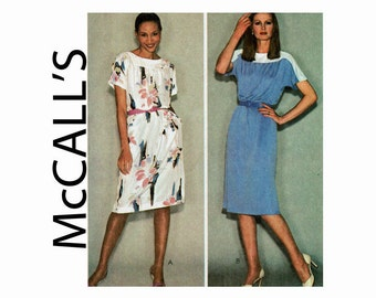 Make it tonight Pullover Dress Size Medium 14-16 Bust 36 38 or Size Large 18-20 Bust 40 42 McCalls 6975 1980s Uncut Sewing Pattern