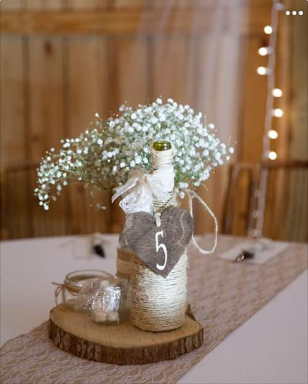 Rustic Heart Table Numbers Wood Wedding Mason Jar Centerpiece