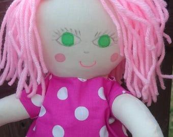 Handmade rag doll, fabric doll, soft doll, gift for girls, custom doll, doll with pink hair, 18 inch doll,