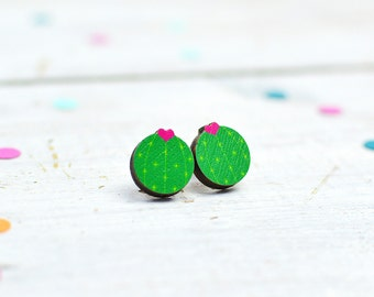 Cactus Earrings | Flowering Cactus Jewellery | Stud Earrings | Small Earrings | Nickel Free Jewellery