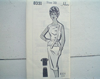 Vintage Patt-O-Rama Two-Piece Dress Pattern or Skirt and Blouse with Asymmetric Buttons 1960s Bust 40