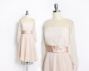 Vintage 50s Dress - Champagne Lace Chiffon Illusion Full Skirt Party Cocktail 1950s - Small S