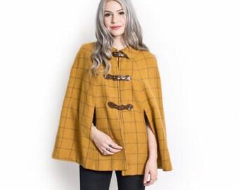 Vintage 60s CAPE - Brown Wool Plaid Yellow Mod Jacket 1960s - Small / Medium
