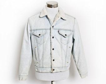 """Vintage 1980s LEVI'S Sherpa Jacket - Acid Wash Denim Fleece Jean Jacket 80s - Large 42"""""""