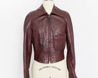 Vintage 1970s Leather Jacket - Burgundy Cropped Bomber Motorcycle Rocker Coat - Extra Small XS