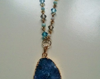 Gold dipped, blue druzy agate necklace, druzy pendant, natural agate, geode necklace