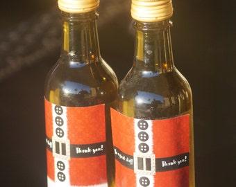 Mini Wine Bottle labels, Christmas mini wine bottle labels, Holiday Christmas wine bottle labels, Santa Mini Wine Bottle  Labels. Set of 9