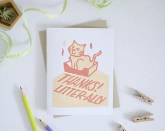 Block Print Thank you Cat Litter Greeting Card