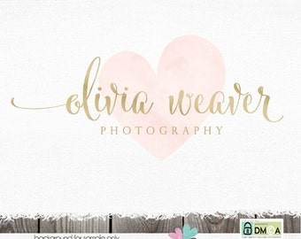 Photography Logo Premade Logo watercolor logo Logo Design Premade logo design Heart Logo Photographer Logos and Watermarks custom logo