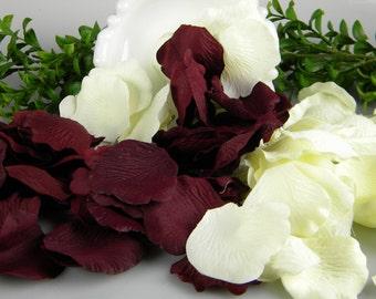 500 Ivory and Burgundy Deep Red Rose Petals Artificial Petals - Wedding Decoration Flower Girl Petals - Burgundy and Ivory Tossing Petals